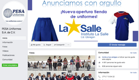 Facebook PESA Uniformes